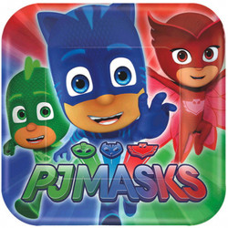 It's the right time to fight crime and feast on cake. PJ Masks Dessert Plates feature the PJ Masks crew of Catboy, Owlette, and Gekko ready for action. Use these small square paper plates to serve up superhero cake at your PJ Masks birthday party or pajama party. PJ Masks Dessert Plates product details:  8 per package 7in x 7in Paper Made in the USA