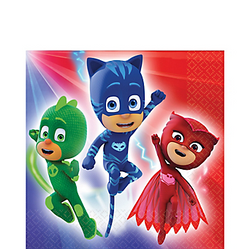 Set a super-cool table with PJ Masks Lunch Napkins. These paper napkins feature the PJ Masks crew of Catboy, Owlette, and Gekko ready for action. Fighting crime can be a bit messy, so keep a stack of PJ Masks napkins on hand for quick cleanup! PJ Masks Lunch Napkins product details:  16 per package 6 1/2in x 6 1/2in when folded 2-ply paper Made in the USA
