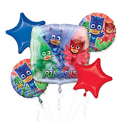The PJ Masks are taking the night off to come to your party! This five-piece PJ Masks Balloon Bouquet features a giant square foil balloon printed with Catboy, Gekko, and Owlette against a blue, red, and green background. Two round balloons displaying the PJ Masks team and two star balloons complete this super balloon bouquet. This PJ Masks Balloon Bouquet is perfect for your little hero's PJ Masks birthday. PJ Masks Balloon Bouquet includes:  Foil Giant PJ Masks Balloon, 28in x 28in 2 foil PJ Masks Balloons, 17in diameter 2 foil star balloons, 19in diameter