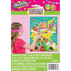 Let party guests work up an appetite with a Shopkins Party Game! This colorful plastic poster features Apple Blossom, Kooky Cookie, and Peachy Peach on a teal background. A Shopkins twist on the classic Pin-the-Tail-on-the-Donkey game asks the birthday girl and her friends to place a sticker in the right spot. Win the Shopkins Party Game by placing the Shopkins sticker closest to the center! Suitable for 2 to 16 players. Shopkins Party Game includes:  Poster, 15in wide x 19in tall 16 stickers Blindfold Not for children under 4 years.