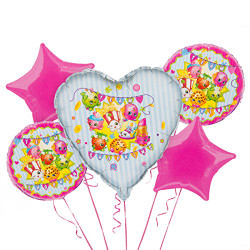 Show your love for those tiny toys with a big Shopkins Balloon Bouquet! This five-piece foil balloon bouquet includes a giant heart balloon that features Lippy Lips, Sneaky Wedge, and Poppy Corn as the focal point. Two round Shopkins balloons display even more Shopkins characters, and two pink star balloons complete the Shopkins Balloon Bouquet. Shopkins Balloon Bouquet includes:  Giant Shopkins heart foil balloon, 29in wide x 29in tall 2 Shopkins foil balloons, 18in diameter 2 pink star foil balloons, 18in diameter