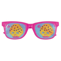"""Make everything look sweeter with these Shopkins Pinhole Novelty Glasses Party Favors. Great for any Shopkins themed party, these stylish pink shades come with Kooky Cookie decals on each lens so you and your guests can be fun and fashionable. Slip these Shopkins party supplies into your goodie bags for guests to take home, or pass them out for everyone to wear when they arrive. They even make cute game prizes for your guests to win! While these glasses make fun party accessories to complete your Shopkins outfit, they do NOT block UV Rays. Bring loads of special Shopkins style to your celebration by shopping our other Shopkins party supplies!   Details:  • 4 Shopkins Pinhole Novelty Glasses Party Favors  • Shopkins Glasses measure 4.5"""" x 1.5"""" and are one-size-fits-most  • Only intended for play and do not provide UV protection  • Ideal for a Shopkins birthday party  • Combine with more Shopkins party supplies"""