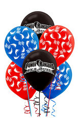 "Your little one's Power Rangers birthday decorations will look as mighty as the Ninja Steel Megazord with these Power Rangers Ninja Steel Balloons! These latex balloons come in blue, gray, and red. The blue and red balloons feature white lightning bolts and ""Go Go"" printed on them and the gray balloons feature a ""Saban's Power Rangers Ninja Steel"" headline. Tie these awesome Power Rangers balloons onto door knobs and chairs to match the rest of your Mighty Morphin party decor! Power Rangers Ninja Steel Balloons product details:  6 per package 2 each of 3 colors: blue, gray, and red 12in tall when fully inflated Latex"