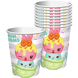 A cupful of cuteness and a spoonful of surprise make Num Noms ‐ and these Num Noms Cups! These disposable paper cups feature Pinkie Lemonade, Mintee Go-Go, and other adorable Num Noms characters. Complete with striped designs and colorful sprinkles in the background, these paper Num Noms Cups will complete your cute Num Noms birthday tableware! Num Noms Cups product details:  8 per package 9oz capacity 3in diameter x 3 3/4in tall Paper Suitable for hot and cold beverages Made in the USA