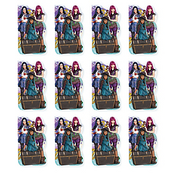 Scribble and draw the Isle of the Lost with Evie, Mal, and Uma! Descendants 2 Notebooks feature the little villains sitting on a treasure chest on the front. Inside are 20 blank white pages perfect for a quick note or doodle. Add Disney Descendants notebooks to party favor bags or the pinata at your child's Descendants 2 birthday party. Descendants 2 Notebooks product details:  12 per package 2 1/4in wide x 3 3/4in tall 20 pages Paper Not for children under 3 years.