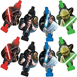 Celebrate the birthday boy or girl with Star Wars Blowouts. These Star Wars party favors feature cutouts with Darth Vader, Luke Skywalker, Yoda, or Han Solo attached to paper blowout extensions. Set these Star Wars favors on the table or put them in goodie bags! Blowouts do not make a sound. Star Wars Blowouts product details:  8 per package 2 each of 4 designs 2 1/2in wide x 5 1/2in tall Cardstock and paper Make no sound ⚠ WARNING: CHOKING HAZARD - Small parts. Not for children under 3 years.
