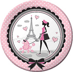 Say Bonjour to our Pink Paris Lunch Plates. These round plates feature a Parisian and her poodle strolling in front of the Eiffel Tower. With premium strength, our Paris-themed plates can hold as many crepes as your heart desires. Your party will be pretty in pink with our Pink Paris Lunch Plates. Pink Paris Lunch Plates product details:  8 per package 8 3/4in diameter Paper