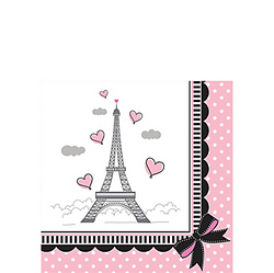Pink Paris Beverage Napkins will have you saying Ooh-la-la! These small napkins feature the Eiffel Tower surrounded by pink hearts and polka dots. Your table will be looking pretty in pink with these Paris-themed napkins. Pink Paris Beverage Napkins product details:  16 per package Each measures 5in x 5in folded 2-ply paper