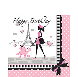 """Pink Paris Birthday Lunch Napkins will have you saying Ooh-la-la! These large napkins feature a Parisian and her poodle strolling in front of the Eiffel Tower and the message """"Happy Birthday"""" printed in black script. Your table will be looking pretty in pink with these Paris-themed napkins. Pink Paris Birthday Lunch Napkins product details:  16 per package Each measures 6 1/2in x 6 1/2in folded 2-ply paper"""
