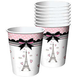 You can toast to an elegant event with Pink Paris Cups! These Paris-themed paper cups feature the Eiffel Tower and have a black bow and pink polka dot border. These are also disposable, making cleanup easy! Pink Paris Cups product details:  8 per package 9oz capacity Each measures 2in x 3 1/2in Paper Suitable for hot and cold liquids