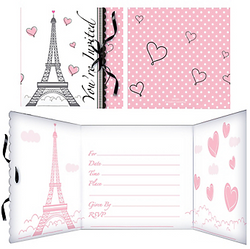 """Say Bonjour to your friends and send out Pink Paris Invitations! These chic Paris-themed invitations feature the Eiffel Tower and say """"You're Invited"""" in classic script with pink polka dot details. Inside these folded cardstock invitations are spaces to write the party details. Tie your invitation up with a little black bow for an extra touch of elegance. Pink paper envelopes are included to add extra feminine flair. Pink Paris Party Invitations include:  8 folded invitations, 4 1/2in x 4 1/2in each 8 pink envelopes 8 pieces of black ribbon, 12in each"""