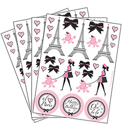 se Pink Paris Stickers to decorate your invitations, seal treat bags or dress up your party favors. Each sticker sheet features the Eiffel Tower, pink poodles, hearts, bows and more. Pink Paris Stickers will make you say Ooh-la-la! Pink Paris Stickers product details:  Sheet measures 4 1/2in x 6in 4 sheets, 104 stickers