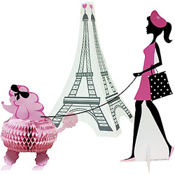 Our Pink Paris Centerpieces include a cardstock Parisian girl with stand and a paper honeycomb pink poodle. The two can be connected by a string leash. The cardstock Eiffel Tower centerpiece adds a touch of elegance to your table setting. Centerpiece arrives flat, with instructions for simple assembly. Pink Paris Centerpieces includes:  Eiffel Tower, 11in x 6in x 6in Poodle, 4 3/4in x 4 1/4in x 4in Parisian girl, 8in x 3in Black string, 12in