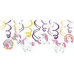 Magical Unicorn Swirl Decorations 12ct
