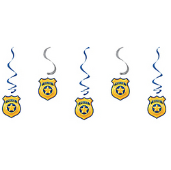 Police Swirl Decorations 5ct