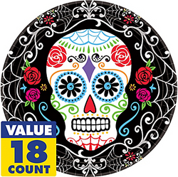 Sugar Skull Dinner Plates 18ct - Day of the Dead