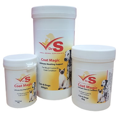 Moulting supplement for cats and dogs.
