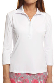 Golftini White 3/4 Sleeve Ruffle Tech Polo