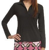 Golftini Black Long Sleeve Ruffle Tech Polo
