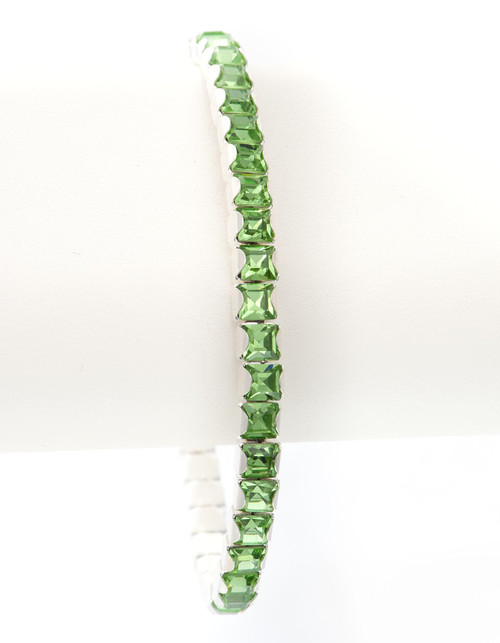 Bonjoc Peridot Swarovski Crystal Stretch Golf Bracelet
