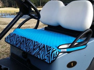 Quilted Turquoise Zebra Cart Seat Cover