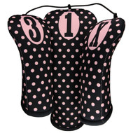 Beejo Black with Pink Polka Dots Club Cover Set