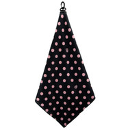 Beejo Black with Pink Polka Dots Golf Towel