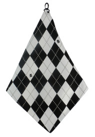 Beejo Black and White Argyle Golf Towel
