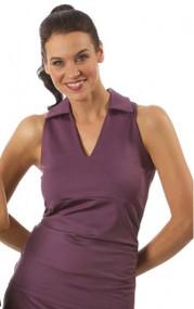 Smashing Michelle Eggplant Sleeveless Golf Shirt
