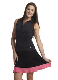 Golftini Longer Length Black and Pink GT Tech Pull On Skort