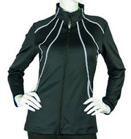 2GG Black with White Piping Golf Jacket - Size: XS
