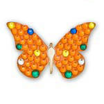 Bonjoc Orange Butterfly Swarovski Crystal Ball Marker