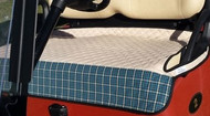 Quilted Tan Cart Seat Cover with Blue Plaid Trim