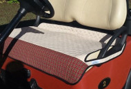 Quilted Tan Cart Seat Cover with Red Plaid Trim
