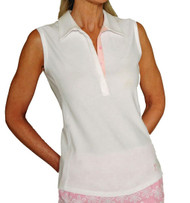 Golftini Classic White with Pink Trim Sleeveless Polo