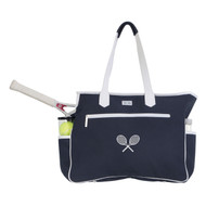 Ame & Lulu Kensington Crossed Racquets Ladies Tennis Court Bag - Navy