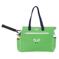Ame & Lulu Kensington Crossed Racquets Ladies Tennis Court Bag - Green
