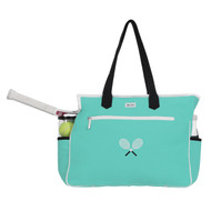 Ame & Lulu Kensington Crossed Racquets Ladies Tennis Court Bag - Aqua