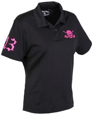 Tattoo Golf Pink Skull Short Sleeve Ladies Golf Polo Shirt