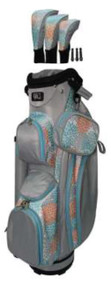 RJ Sports LB-960 Grey and Coral Ladies Golf Bag + Club Cover Set