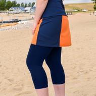 FestaSports Orange & Navy Slimming Panel Tennis Skort + Capris