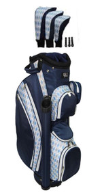 RJ Sports LB-960 Navy Argyle Ladies Golf Bag + Club Cover Set