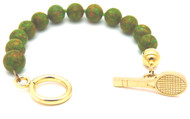 Sporty Chic Green Turquoise Tennis Toggle Bracelet