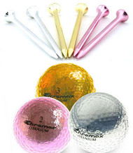 Metallic Golf Balls + Tees Combo