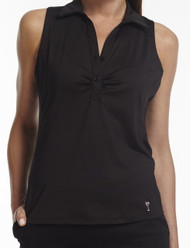 Golftini Black Sleeveless Tech Polo - Size: Small