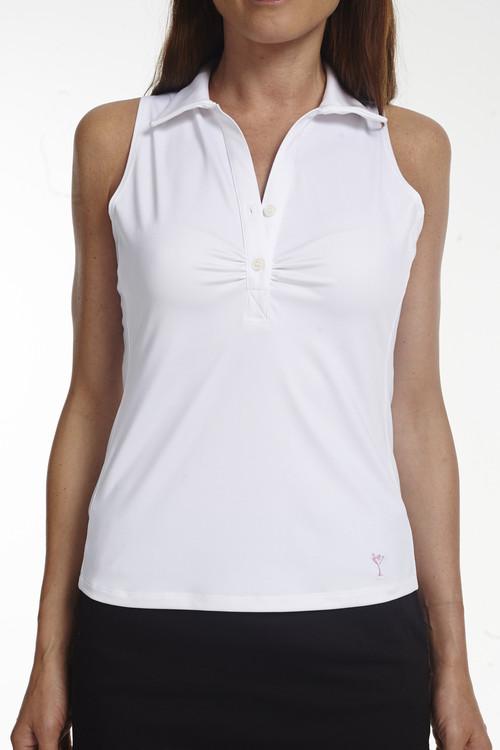 Golftini White Tech Sleeveless Golf Polo