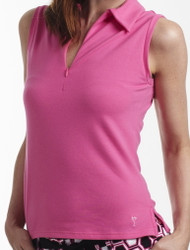 Golftini Hot Pink Sleeveless Zip Polo