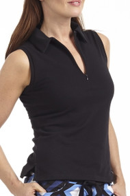 Golftini Black Sleeveless Zip Polo