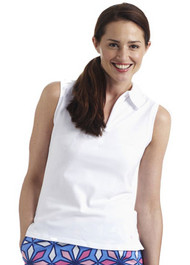 Golftini White Sleeveless Zip Polo