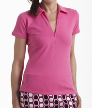Golftini Hot Pink Short Sleeve Zip Polo